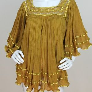 Vtg 70s cotton gauze ribbon flowy tunic top